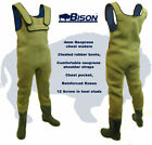 BISON 4MM NEOPRENE CHEST WADERS ALL SIZES WITH FREE STUDS.