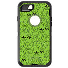 CUSTOM OtterBox Defender for iPhone 6 6S 7 PLUS Lime Green Black Floral Pattern