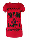 Donna natale novità Merry Christmas Ya Filthy Animal Top Con Stampa T-Shirt 6-12