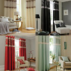 Catherine Lansfield Home Ivory Floral Jacquard Eyelet Curtains