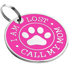 Dog ID Tag Personalised Custom Engraved Enamel Pet Name Puppy Cat Disc Charm S L