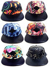 E-FLAG MULTICOLOR FAUX BLACK STINGRAY LEATHER 5 PANEL CAMPER STRAPBACK HAT CAP