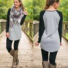 Women Fashion Autumn Casual Loose Long Sleeve Black&Gray T-Shirt Tops Blouses US