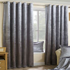 SILVER CRUSHED VELVET PAIR OF METALLIC EYELET RING TOP READY MADE LINED CURTAINS