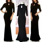 BLACK HIGH NECK Choker Cold Shoulder Curvy MERMAID MAXI DRESS PONTE KNIT S-XL