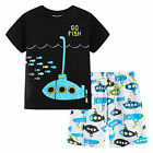 Pyjamas Boys Summer Pjs Set (sz 3-7) Black Go Fish Submarine Sz 3 4 5 6 7
