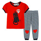 Pyjamas Baby Girls Summer Long 2 pc Pjs Set (sz 0-2) Red Cat Meow Sz 0 1 2