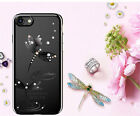 Luxury Genuine Austria Crystal Slim PC Back Cover Black Case For iPhone 7/7 Plus