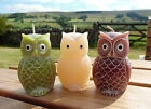 Fair Trade Owl Candle, Gift Candles, Burgundy, Cream or Green, 9cm, Made in Bali