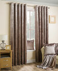 BRONZE CRUSHED VELVET PAIR OF METALLIC EYELET RING TOP READY MADE LINED CURTAINS