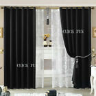 1x/ 2x Deluxe 100% Blockout Curtains 3 Layers Pure Fabric Blackout Room Black AU
