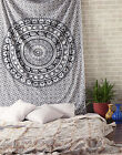 Hippie Mandala Tapestry Indian Elephant Bedspread Twin Black White Wall Hanging