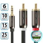 3 6 10 15 25 FT Premium 3.5mm AUX Stereo M/M 2 RCA Splitter Male Audio Y Cable