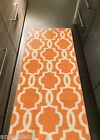"Custom Size Stair Hallway Runner Rug Rubber Back Non Skid Trellis ORANGE 22"" 31"""