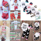3/4PCS Baby Boys Girls Christmas Xmas Clothes Tops Romper Pants Hat Outfits Sets