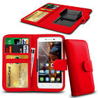 For alcatel Pop D1 - Clamp Style PU Leather Wallet Case Cover