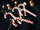 Set Of 5 Or 3 Glass Red And White Candy Canes Christmas Xmas Tree Decorations