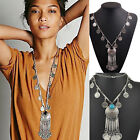 New Women Carved Coin Tassels Resin Pendant Necklace Choker Chunky Jewelry