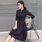 New Women's Long Sleeve Navy Blue Dresses Slim Fit Empire Waist Pink Wave Point