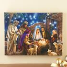 Lighted Nativity Scene Canvas Print Baby Jesus Mary Joseph Wise Men Fiber Optic