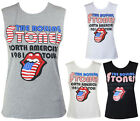 New Ladies Rolling Stones American Flag Lips Print Womens Vest Top Size 8 - 14
