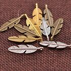 10/30/50Pcs Antique Silver/Gold Feather Leaves Charm Pensant DIY Findings C3077