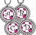 """Custom Ladybug Initial Girls Kids Bottle Cap Necklace with 24"""" Chain"""