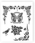 Vine, Butterfly & Flowers 190 micron Mylar Stencil durable - A5 - A4 - A3**NEW**