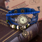 Women Charm Vintage Heart Pendant Multilayer racelet Faux Leather Wrist Watch
