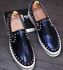 New Mens Leather Casual Metal Chain Fashion Punk Rivert Loafers Shoes Slip On