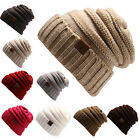 Trendy Warm Chunky Soft Stretch Cable Knit Slouchy Knit Thick Slouch Beanie Cap