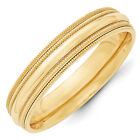 14K Yellow Gold 5mm Double Milgrain Wedding Band Comfort Fit Ring Sizes 4 - 14