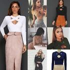 Fashion Women Long Sleeve Cross Bodycon Crop Tops Party Bandage Shirts Pullover