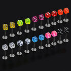 Cube Dice Lip Ear Studs Rings Tragus Labret Body Piercing Bars ACN7 uk ring lip
