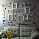 FAMILY IS QUOTE WALL ART STICKER WORDS DECOR LOUNGE HALLWAY ROOM PHOTO FRAMES