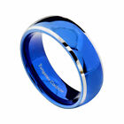 Tungsten Men's Blue Domed with Beveled Silver Edges Band Ring Size 7-15