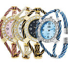 Design Steel Wire Crystal Quartz Beauty Bracelet Wrist Watch For Women Girls Hot image