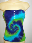 LADIES TIE DYE DYED BLUE NAVY & GREEN STRAPLESS TOP BOOBTUBE BY ICE XS