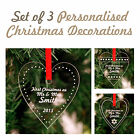 Christmas Acrylic Heart Decorations Personalised !! Cute.