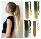 Long Straight Wavy Ombre Wrap Around Ponytail Clip in Hair Extensions Hairpieces