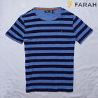 Men's Farah Striped T-Shirt Casual Designer Tee Shirt Top Size L