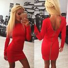 New Women Sexy Long Sleeve Back Zip Up Solid Casual Bodycon Slim Mini DressKECP