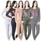 Women Floral Embroidered Rose Ladies Jersey Loungewear Suit Co Ord Set Tracksuit