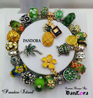 """""""Paradise Island"""" Green Authentic Pandora  Sterling Silver Chain w/ Charm/Beads"""