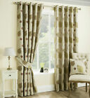Spring Floral Leaf Trail Quality Pair Of Curtains With A Ring Top Eyelet Header