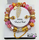 """""""Leaf of Faith"""" Authentic Pandora Sterling Silver Chain w/ AAA Charms Pink, Gold"""