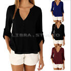 Summer ladys Chiffon Tee T Shirt Loose Blouse Tops Casual long sleeves plus size
