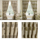 Floral Leaf Trail Pair Curtains With Tape Top Eyelet Header In Autumn Or Spring