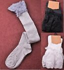 Women's Knee High Lace Trim Cotton Crochet Top Knit Boot Socks Stockings