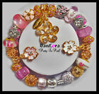 """DanLora Charm Bracelet """"Pretty In Pink"""" Flowers White Gold Gift-Shown In Photos"""